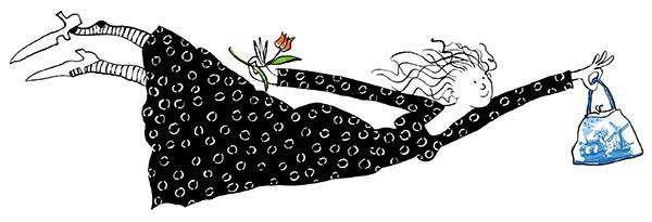 Een vliegende dame in een zwarte jurk . In haar rechterhand een rode tulp en links een handtas met delfsblauw motief.
