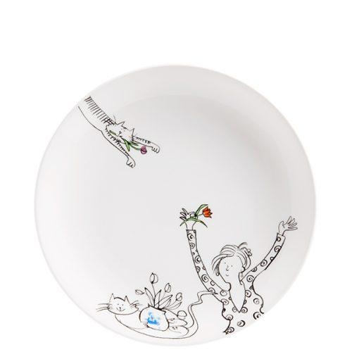 Ontbijtbord met een zwart-wit tekening van een dame met een rode tulp in haar hand en een op haar rug liggende poes met een vaas met tulpen op haar buik. Aan de bovenkant van het bord nog een halve poes met een roze tulp in haar bekje.